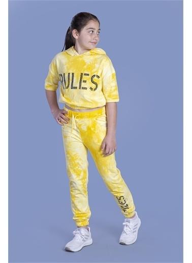 Toontoy Kids Toontoy Kız Çocuk Rules Baskılı Batik Desenli Crop Eşofman Takımı Sarı
